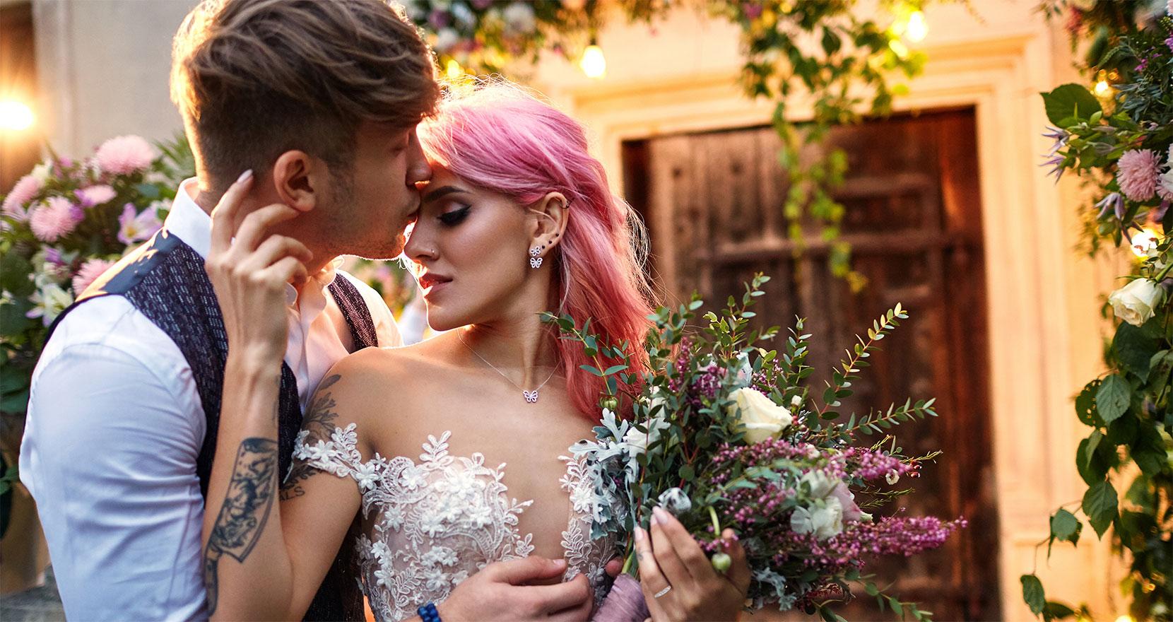 Bröllopspar på herrgården