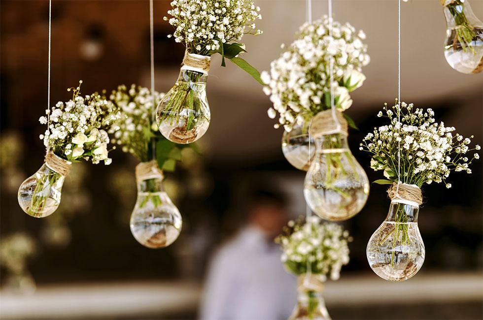 Bröllop dekoration buketter