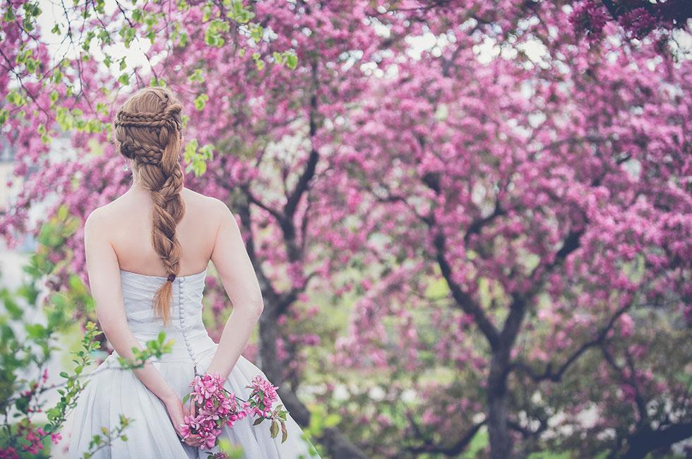 Bröllop brud bland körsbärsblom utanför herrgården