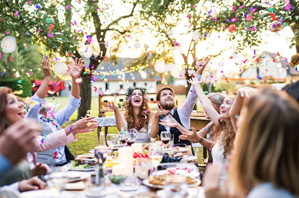 Bröllopsfest med middag ute