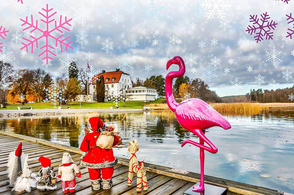 Julbord vid Mälarens strand - julgänget på bryggan med rosa flamingon
