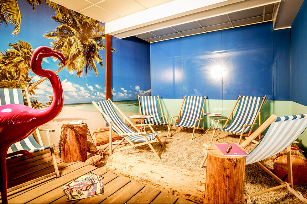 konferenslokal paradiset med sandstrand inomhus
