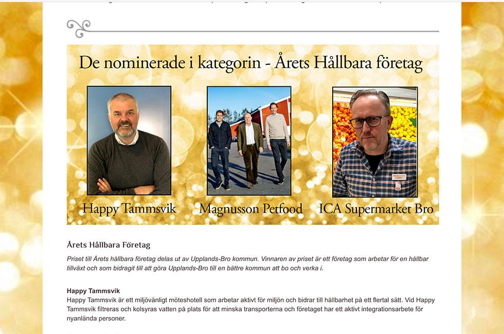 Happy Tammsvik nominerade till årets mest hållbara företag